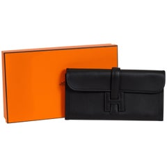 New Hermes Black Epsom Jige Elan Clutch