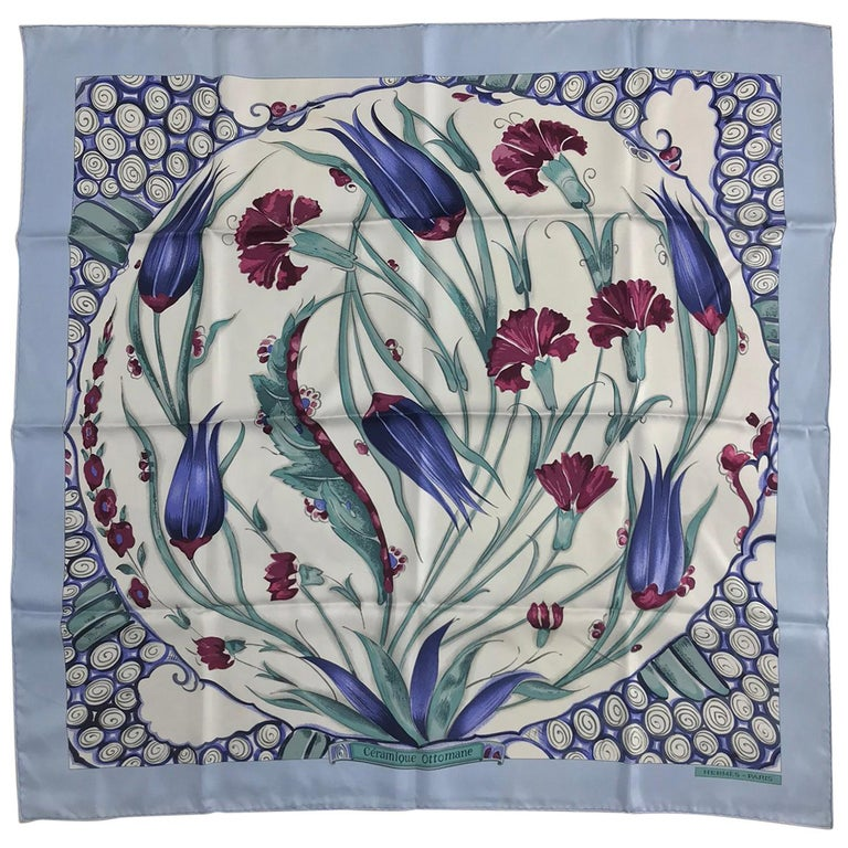 Hermes Ceramique Ottomane Laurence Bourthoumieux Blue Silk Scarf 35 x 35  For Sale