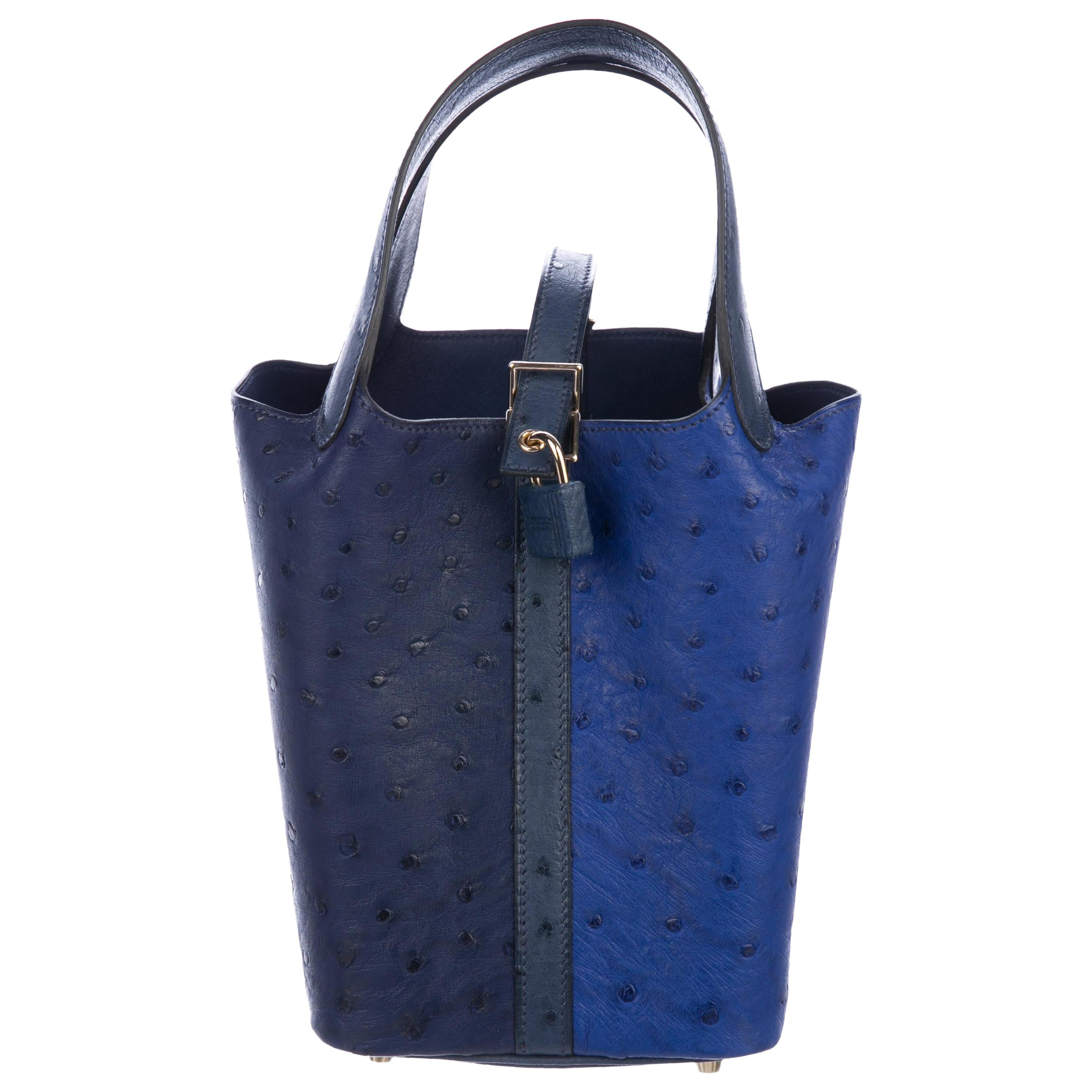 0f367b7ac4 ... australia hermes leather two tone blue evening small top handle bucket  satchel bag in box 0f321