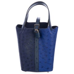 Hermes Leather Two Tone Blue Evening Small Top Handle Bucket Satchel Bag in Box