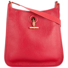 Hermes Red Leather Gold Mens Womens Carryall Crossbody Shoulder Bag