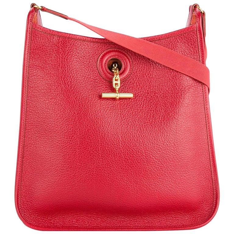 Hermes Red Leather Gold Mens Womens Carryall Crossbody Shoulder Bag