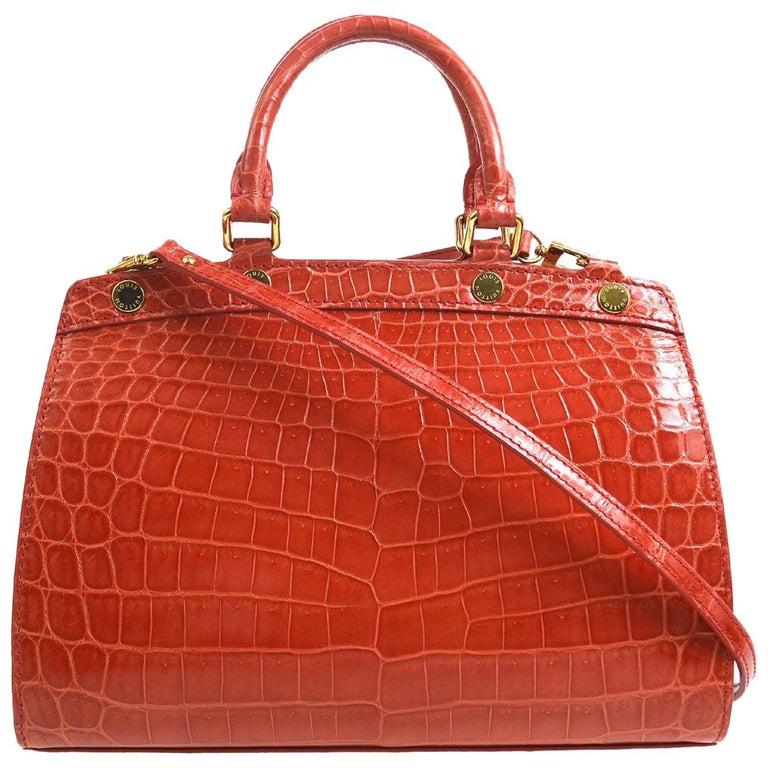 Louis Vuitton Rare Alligator Leather Gold Top Handle Satchel Shoulder Tote Bag