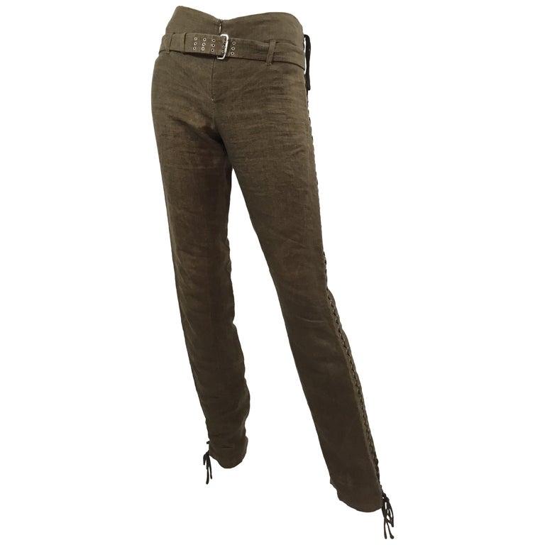 Jean Paul Gaultier Lace Up Linen Pants