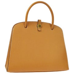 Hermes Cognac Tan Leather Gold Top Handle Satchel Tote Bag