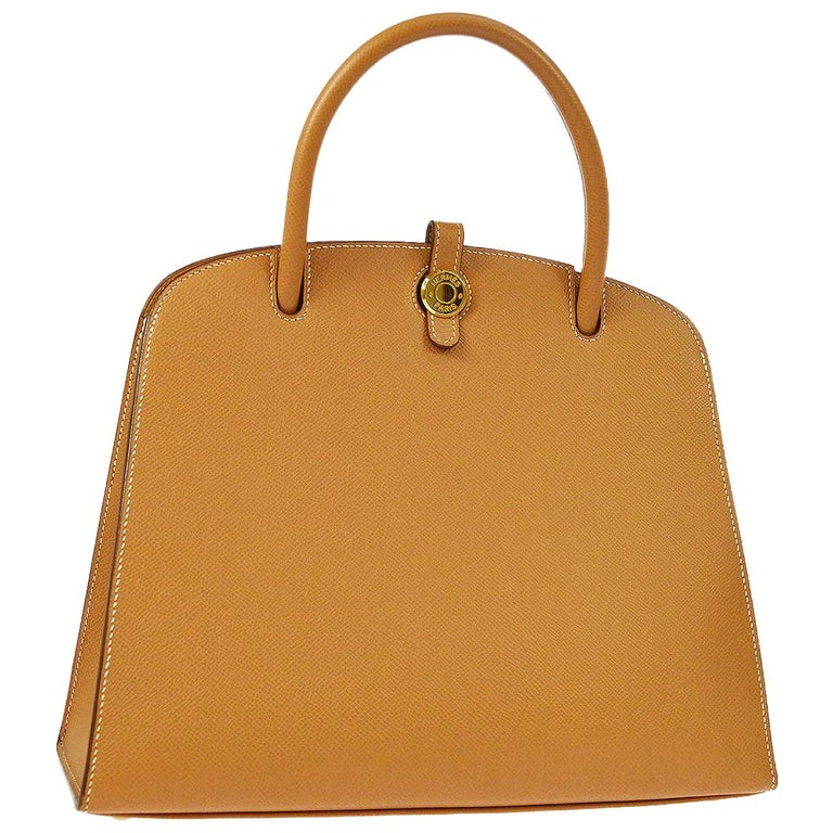 Hermes Cognac Tan Leather Gold Top Handle Satchel Tote Bag For Sale