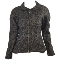 Chanel Black & Gold Tweed Knit Peplum Jacket