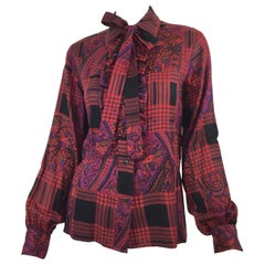 Yves Saint Laurent Vintage Plaid Blouse with Neck Tie