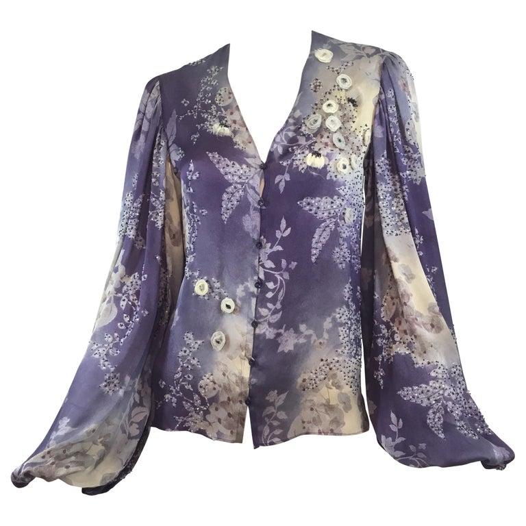 Chloé Silk Embellished Peasant Blouse