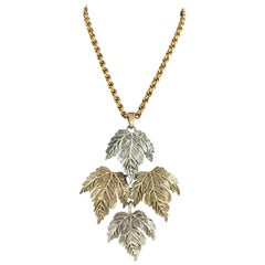 Castlecliff Large Leaf Pendant Necklace 1950s