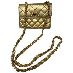 Chanel Mini Gold Leather Crossbody Bag