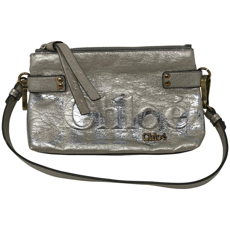 Chloe Crossbody Silver Leather Bag