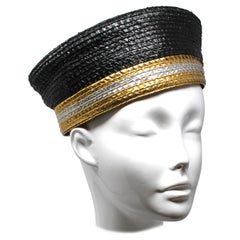 Yves Saint Laurent Black and Gold Raffia Cap, c. 1980s
