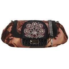 Prada Brown x Multi Studded Nylon Clutch