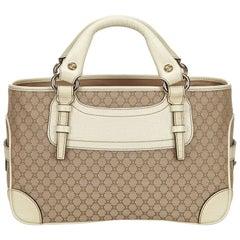 Celine Brown x Beige x White x Ivory Macadam Jacquard Boogie Bag