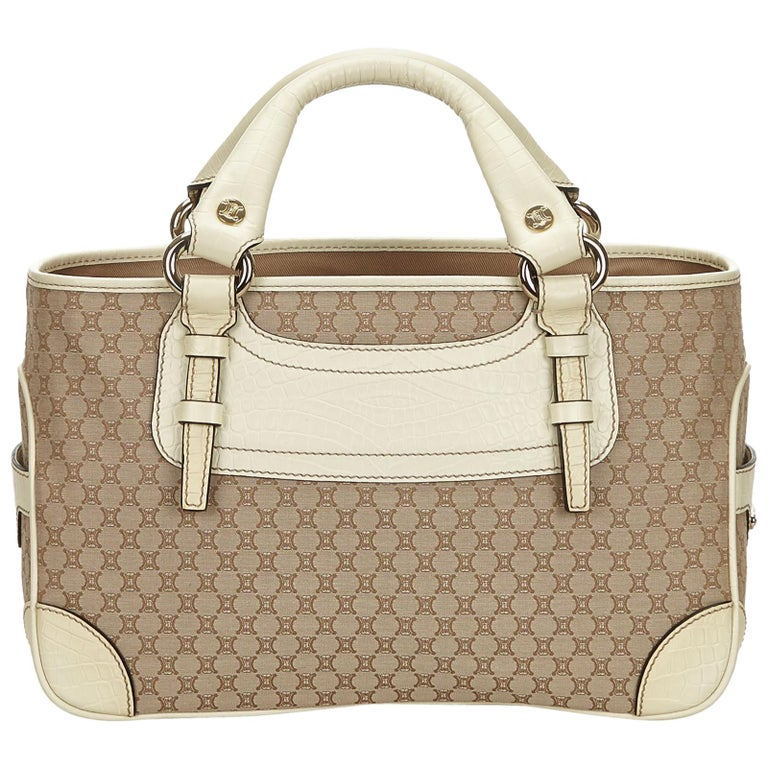 14ce1da7c668 Celine Brown x Beige x White x Ivory Macadam Jacquard Boogie Bag at 1stdibs