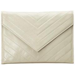 YSL White Leather Clutch Bag