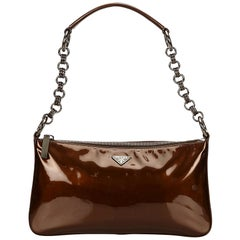 Prada Brown Patent Leather Baguette