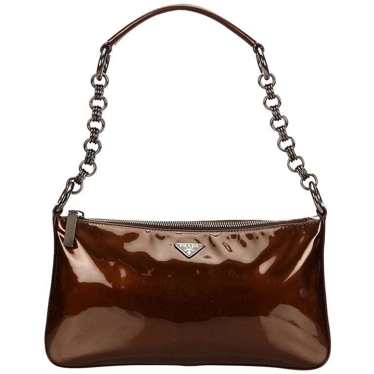 b3b28d8fc2cb Prada Brown Patent Leather Baguette at 1stdibs