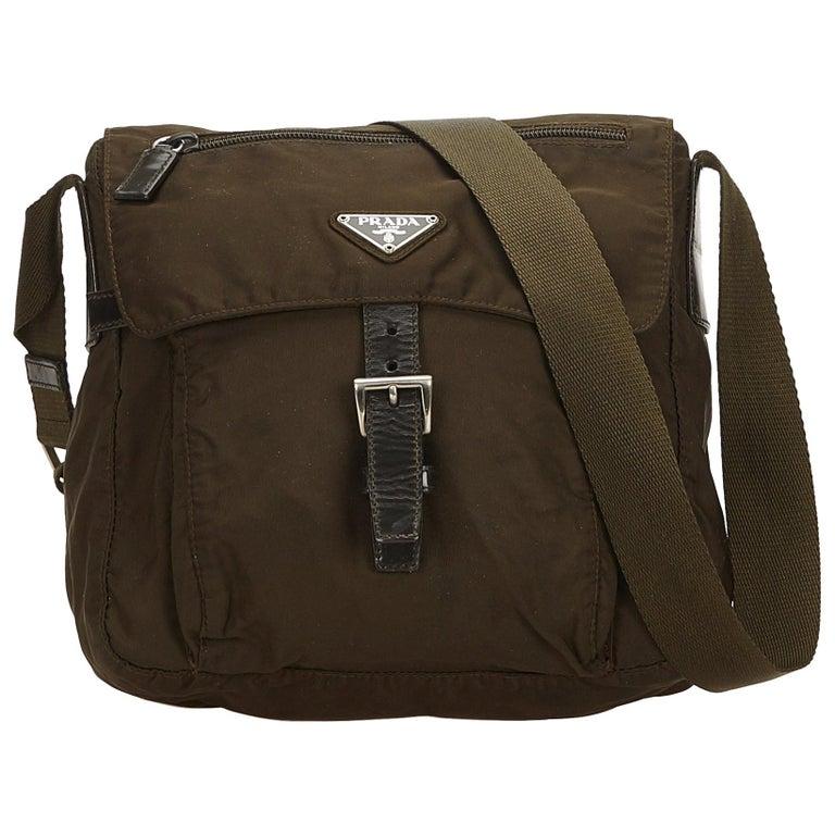 2aa35b3310eb82 Prada Brown x Khaki Nylon Crossbody Bag at 1stdibs