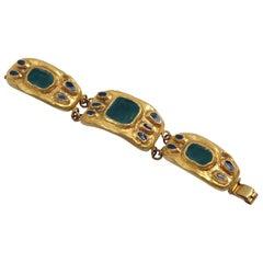 French Designer Willy Modernist Gilt Bronze and Enamel Link Bracelet