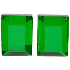 Harriet Bauknight for Kaso Oversized Emerald Green Lucite Clip on Earrings