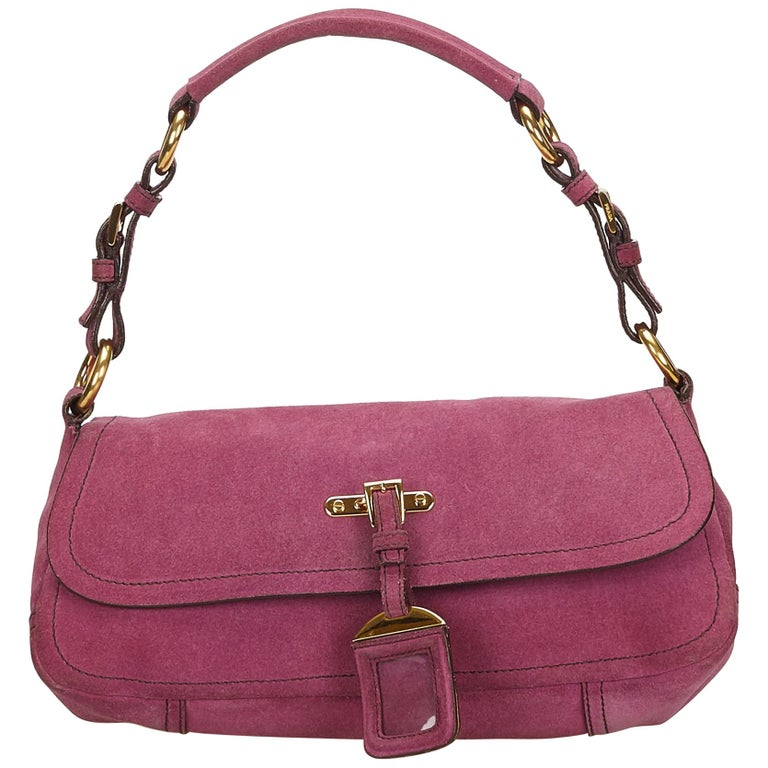 ffd47f09f24e Prada Pink Suede Baguette For Sale at 1stdibs