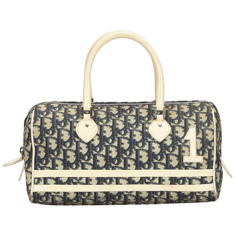 Dior Blue x Navy x White x Ivory Oblique Trotter Boston Bag