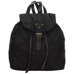 Prada Black Quilted Nylon Drawstring Backpack