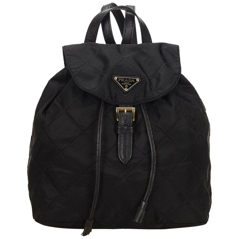 413ba1551e44 Prada Black Quilted Nylon Drawstring Backpack at 1stdibs