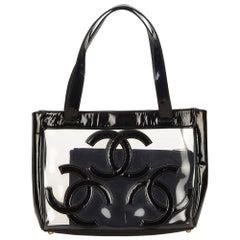 Chanel Black Clear Vinyl Tote Bag