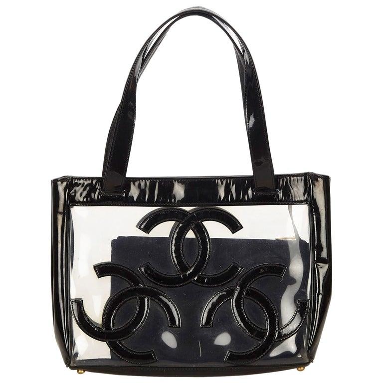 4fa9e7f28a9a Chanel Black Clear Vinyl Tote Bag at 1stdibs