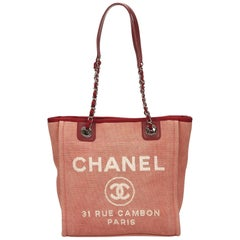 Chanel Red Mini Deauville Tote