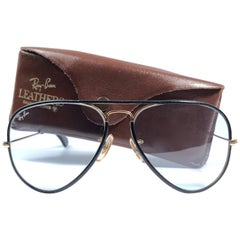 New Vintage Ray Ban Leathers Aviator Black Changeable Lens 58' B&L Sunglasses