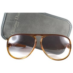 New Vintage Christian Dior Monsieur D60 J10 Dark Amber Aviator 1970 Sunglasses