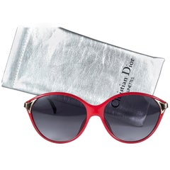 New Vintage Christian Dior 2306 Candy Red Optyl 1980 Sunglasses