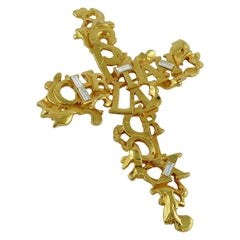 Christian Lacroix Vintage Spelled Cross Brooch