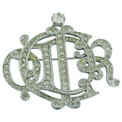 Christian Dior Silver Toned Insigna Diamante Brooch