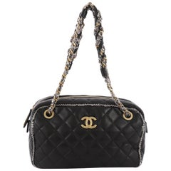 Chanel Tweed Chain Camera Bag Quilted Lambskin and Tweed Small