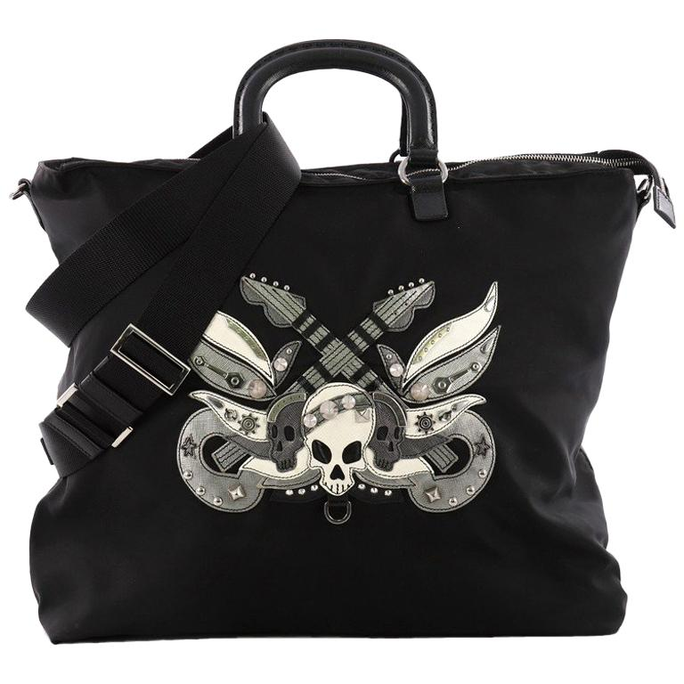 ab3ff0a835ef ... australia prada convertible skull tote tessuto with studded saffiano  leather large for sale 9fef5 f6ed3