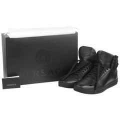 Versace Black Leather High Back Medusa Sneakers Shoes Size 43