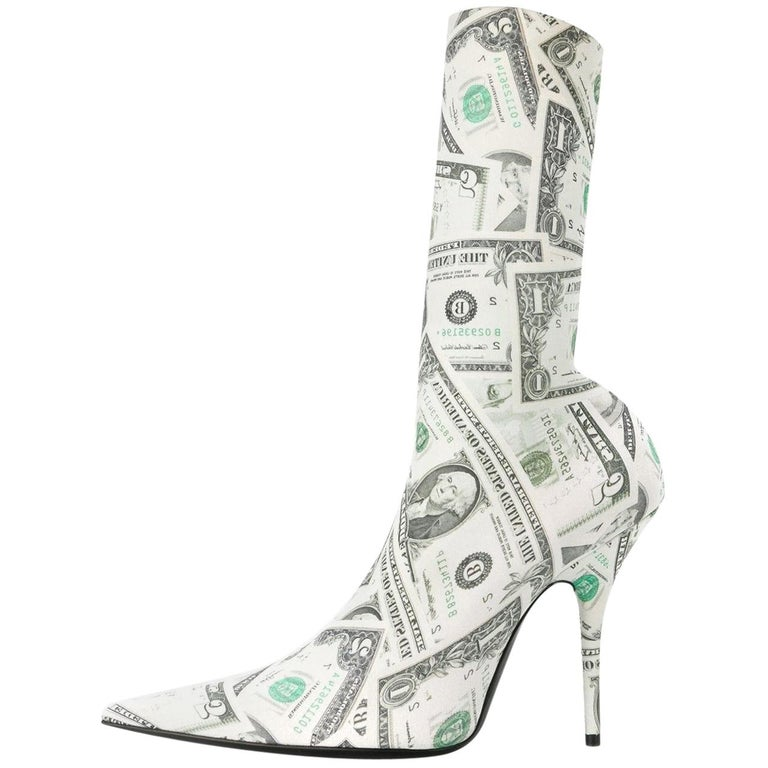 Balenciaga NEW Dinero Money Sock Ankle Heels Boots Booties in Box For Sale