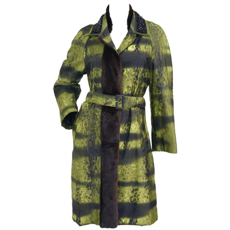 Important 2004 Runway Prada Green Coat with Mink Trim and Bead Detail 44 For Sale