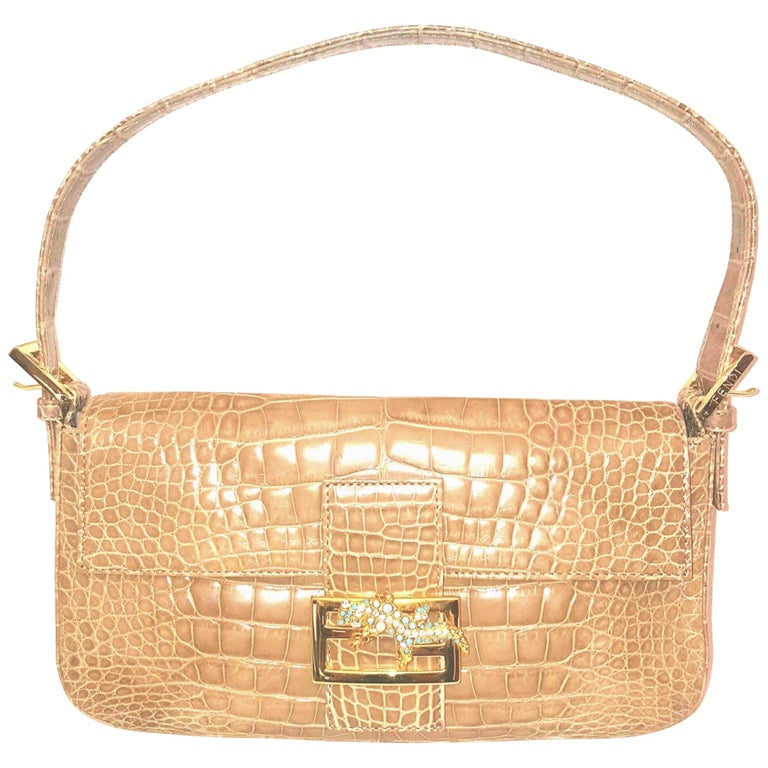 78b7a2e6cff1 Fendi Taupe Croc Embossed Leather Baguette Bag W. Jeweled Gecko Decoration  For Sale