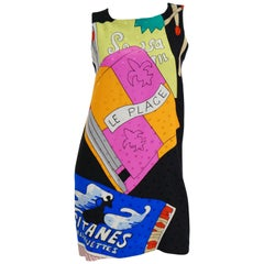 1990s Nicole Miller Silk Pop Art Advertisement Shift Dress
