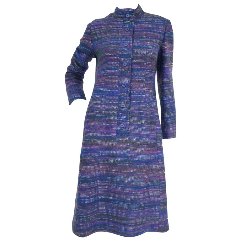 1960s Givenchy Aubergine Angora Wool Shift Dress For Sale