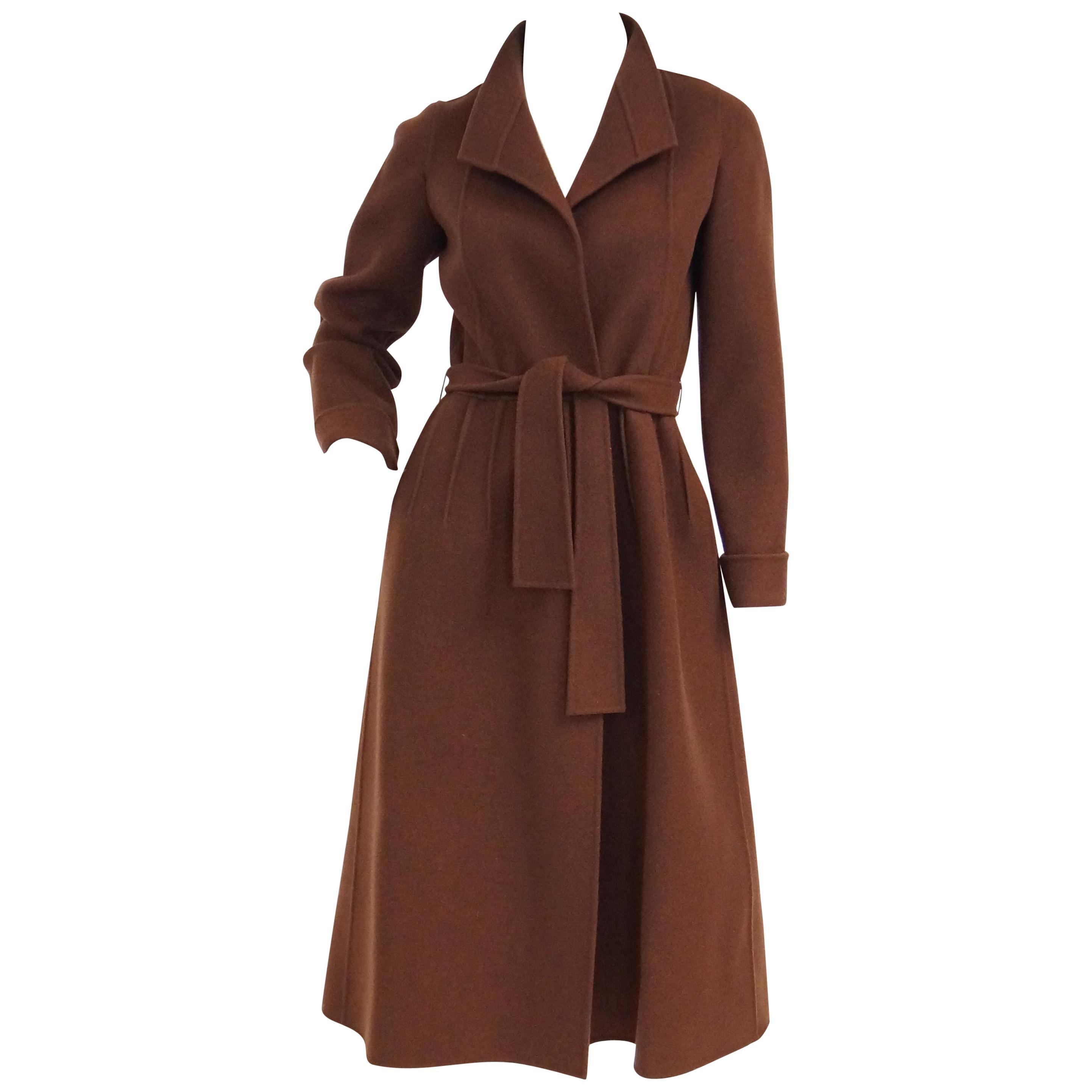 1970s Andre Laug Audrey Brown Wool Wrap Coat 36