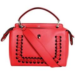 Fendi Red Nappa Leather Whipstitch Fashion Show Dotcom Satchel Bag w/ Strap