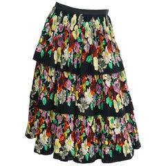 1970s Giera Patritti Plisse Silk Multi - Tier Floral Skirt - Italy