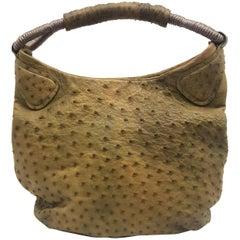 Nuti Green Ostrich Leather Hobo  Single Handle Bag
